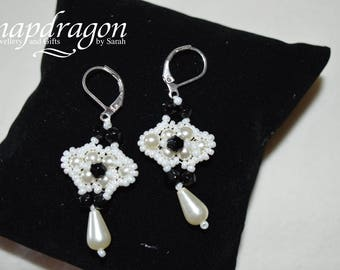Vintage style black and white crystal and pearl beaded drop earrings
