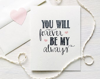 Forever Be My Always Rustic Kraft Greeting Card, Valentine's Day Card, Love Note, Valentine, Anniversary Gift, Card for Him, Romantic Card