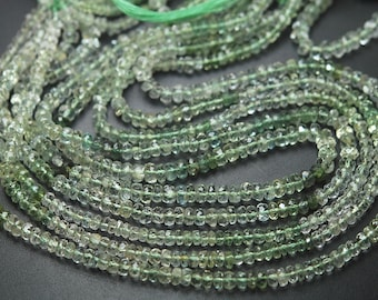 13 Inch,SUPERB-FINEST Quality,Green Aquamarine Micro Faceted Rondells 3.5-4mm