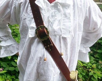 Buckled Leather Pirate Sword Baldric for Larp Cosplay