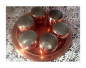 RESERVED- Vintage Coppercraft Guild Set (2) Round Copper Trays & (6) Copper Roly Poly Punch Cups