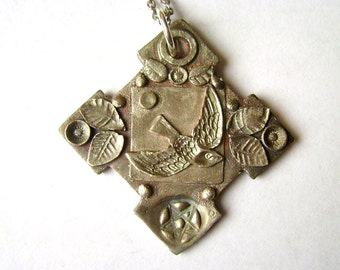 new sterling bird and leaf pendant necklace