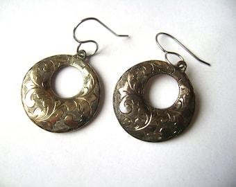vintage fancy sterling hoops