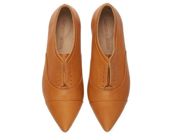 Julie Whisky brown shoes flat pointy handmade leather shoes