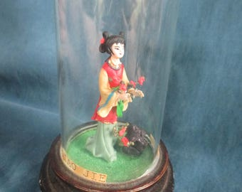 Vintage Miniature Oriental Doll in Sealed Glass Dome on Wood Base