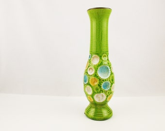 Lime Green Vase With Goldenrod, Cream and Turquoise Craters - Heavily Crazed Surface - Art Pottery - Studio Pottery - Ridged Base/Foot