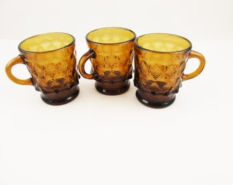 Three Root Beer Brown Clear Glass Mugs - Pineapple/Kimberly Pattern Fire-King Mugs - Kitchen or RV - Hot Coffee - Camping - Retro Kitchen