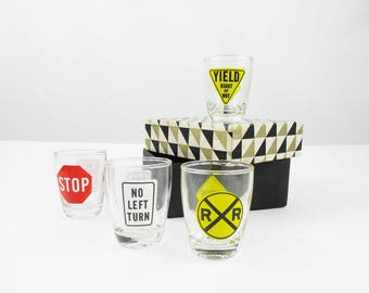Traffic Sign Shot Glasses - Set of Four - Retro '50s - Glass Jigger - Anchor Hocking - Original Box - Eight Traffic Signs - Fun Gift