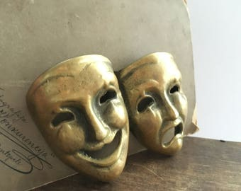 Vintage brass masks figurine Small brass masks Mask wall hanging Brass carnival mask Brass theater mask