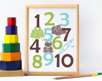 Forest Baby Gift, Woodland Numbers, Adventure Nursery, Camping Nursery Art, Mountain Nursery Wall Art, New Dad gift, Woodland Playroom Art