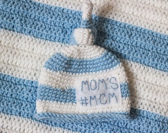 Newborn Hat/ Moms #mcm Hat/ Baby Hat/ Baby blanket/ Newborn Photo Prop/ Baby boy hat/ Baby shower gift/ Coming Home Outfit/ Crocheted Hat/