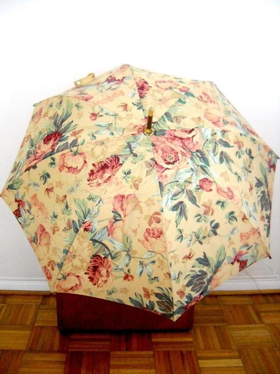 Vintage Ralph Lauren Floral Fabric Umbrella