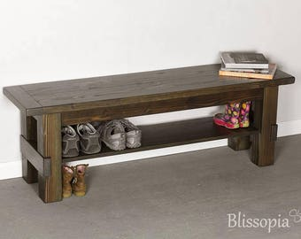 Wood Entryway Storage Bench, Shoe Bench, Shoe Storage, Rustic, Farmhouse Bench, Wooden Bench
