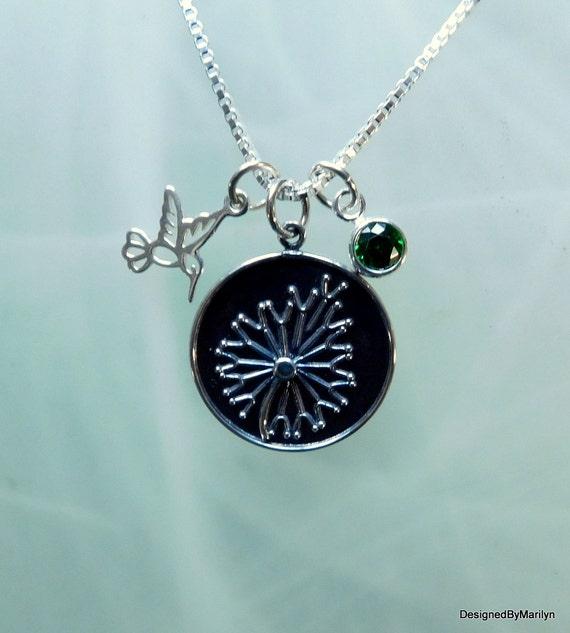 Sterling silver dandelion pendant,  hummingbird necklace, nature jewelry, personalized jewelry, representative of wisdom