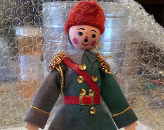 Vintage Soldier Christmas Ornament, Russian Soldier, Hand Painted, Felt , Sequins, fur, Vinyl, Holidays, Old Soldier,Collectibles, Figurines