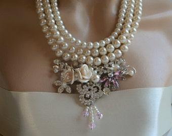 Wedding Pearl Necklace, Glass Pearls, Rhinestone, Bridal Necklace, Ivory, Handmade, Wedding Jewelry, Bridal Jewelry