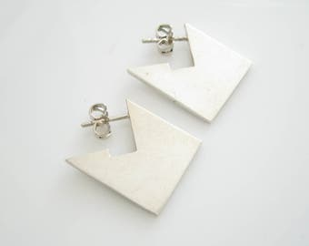 1990s Modernist Jos Jonkergouw Sterling Silver Earstuds Dutch 20th Century Vintage Jewelry | Holland Jewelry
