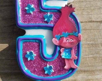 Trolls Birthday Candle