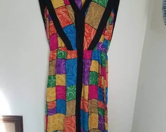 Silk Color Block Dress