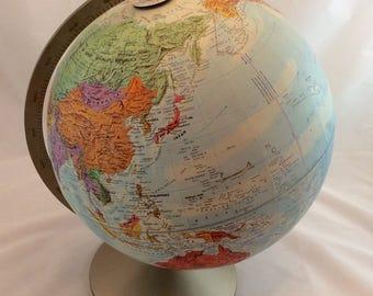 Vintage World Globe, Vintage Replogle Stereo Relief Globe
