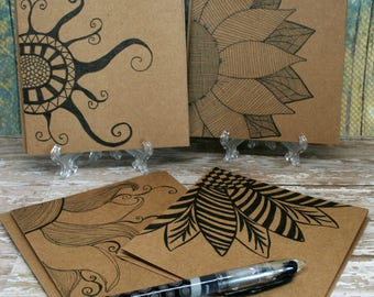 Blank Note Cards Hand Drawn, Zen Inspired Sunny Flowers on Brown Kraft Paper Set of 4