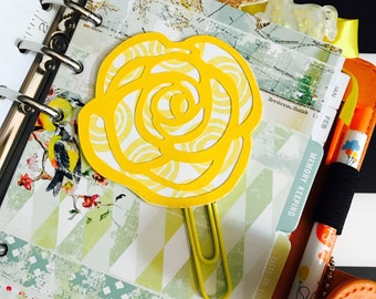Yellow Rose PaperClip | Planner Clip | Planner Page Marker | Planner Accessory