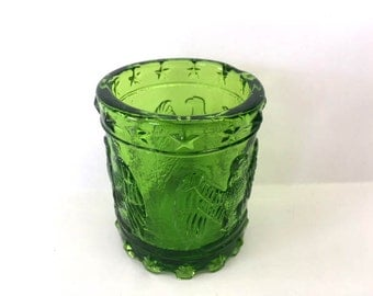 On SALE  Toothpick Holder Green Glass Toothpick Holder Kanawha Glass Drum Toothpick Dispenser