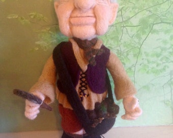 gnome, needlefelted woodcutting woodland gnome. OOAK fantasy folk, fibreart 12 inches