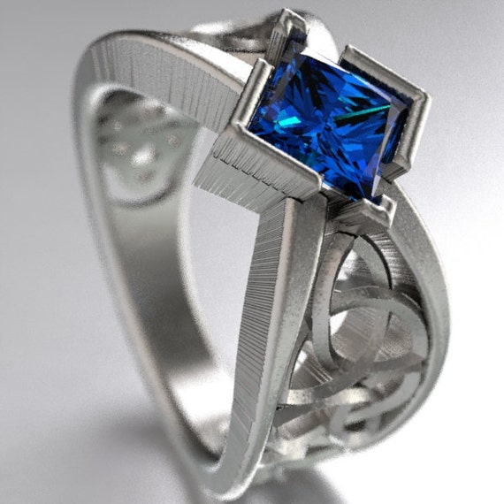 Celtic Wedding Ring With Square Princess Cut Blue Sapphire and Trinity Knotwork Design in Sterling Silver, Made in Your Size CR-1025