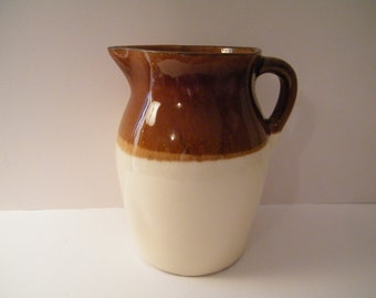 R P P Co Roseville Pitcher, Vintage Ivory and Brown Stoneware Ceramic Water Jug  8 inches tall  USA , Robinson Ransbottom Pottery