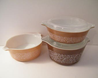 ON SALE Pyrex Woodland Covered Casserole Bowls with lids, 3 bowls, 2 lids, 500 ml, 750 ml and 1 ltr,  vintage 60s bakeware,