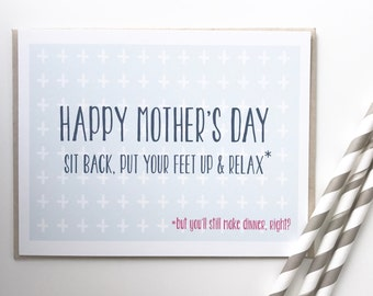 Funny Mothers Day Card. Card for mom. Whats for dinner mom. Mothers Day Card. Mothers Day Funny. Funny mom card.