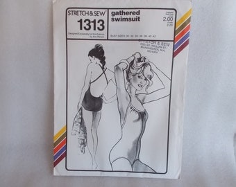 Vintage Gathered Swimsuit Stretch And Sew Pattern