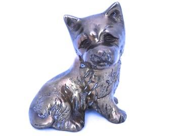 Vintage Brass Dog Figurine, Brass Scottish Terrier or Schnauzer, Brass Scottie Dog Statue, Dog Decor, Brass Terrier Dog Ornament