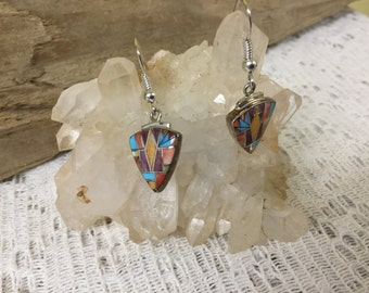 Vintage Zuni-Like Inlaid Earrings