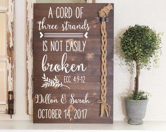 A cord of three strands is not easily broken. Ecc 4:9-12, Wedding Unity Ceremony Alternative, Unity Cord