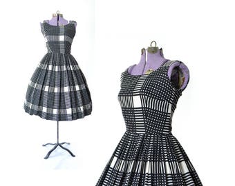 Plaid Dress Vintage Dress 1950s Dress 1950s Party Dress 60s 50s dress prom Dress vintage dress vintage clothing day dress dress