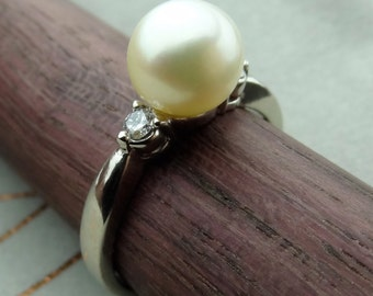 Akoya Cultured Natural Pearl with Diamonds Engagement Ring Solid 14k White Gold / June Birthstone