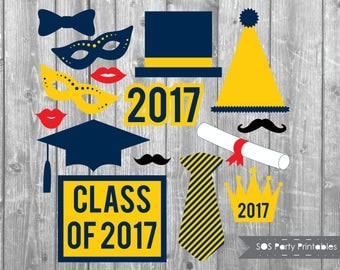 Graduation Photobooth Props, 2017 Grad Party Printables, Class of 2017 photo booth props, Printable Props, Instant Download, navy and gold