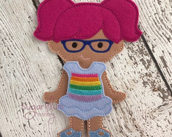 Pigtail Haired Doll, Regan Felt Paper Doll, Cloth Doll, Flat Doll, Unpaper Doll, Non Paper Doll, Children's Toy, Travel Toy