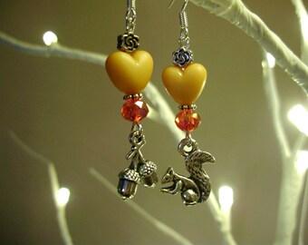 Squirrel earrings, woodland earrings, acorn earrings, squirrel jewelry, heart dangles, woodland dangles, squirrel gifts, autumn earrings