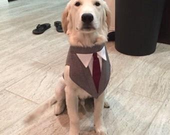 Formal Dog  Wedding Tuxedo  With Tie Of Your Choice , dog suit , dog attire , dog custom fit tuxedo , dog bandana , dog bow tie  dog clothes