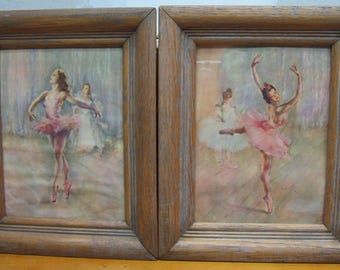 2 ballerina print wood picture frame reliance wall decor vintage