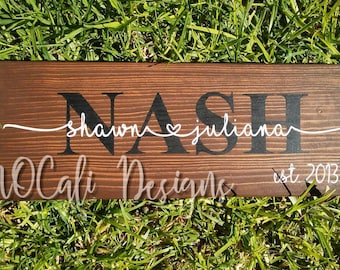 Family Name Sign, Last Name Sign, Wood Name Sign, Wedding Gift, Anniversary Gift , Wedding Sign, Family Established Wood