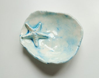 Turquoise starfish free formed ceramic prep bowl, multiuse star fish ocean catch all pottery dish, candy or soap dish, jewelry catcher