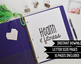 Health and Fitness Planner, Printable Fitness Inserts, Fitness Planner Insert, Half Letter + Letter Size, 15 Pages