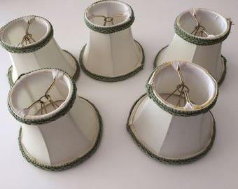 Antique Chandelier Lampshades Set of 5, ivory with sage green trim, vintage clip on bulb lampshades