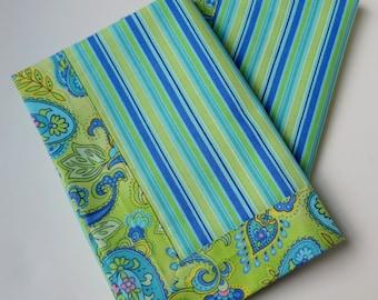 Striped napkins, double sided napkins, handmade cloth napkins, eco-friendly, reusable napkins, housewarming gift, hostess gift, set of 2