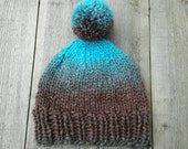 Soft knitted blue & brown beanie with pompom