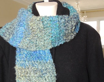 Crochet Scarf, Womens Scarves, Blue Scarf, Ladies Scarves, Winter Scarf